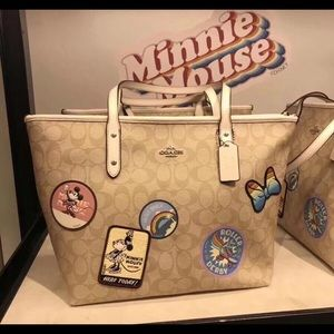 Disney Coach City Zip Tote Minnie Mouse Patches